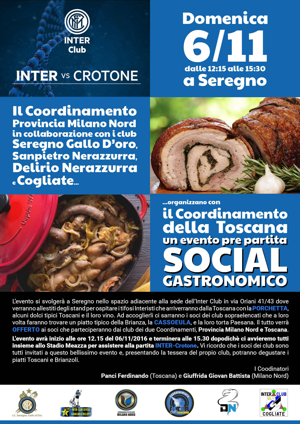 Invito all'Evento SOCIAL Gastonomico – 6/11/2016